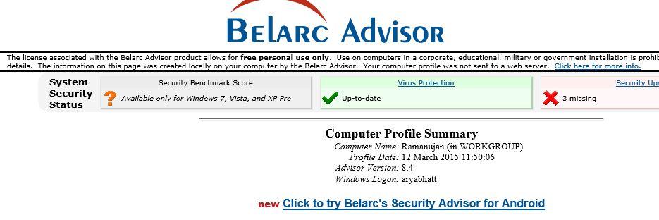 Belarc Advisor : Your free personal audit tool - soonev