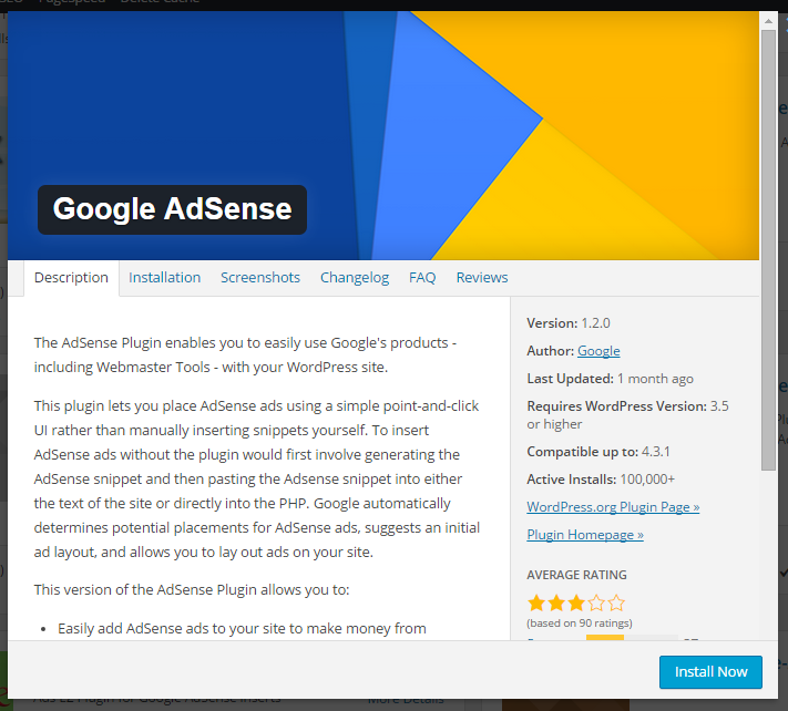 details about Google Adsense Plugin for WordPress