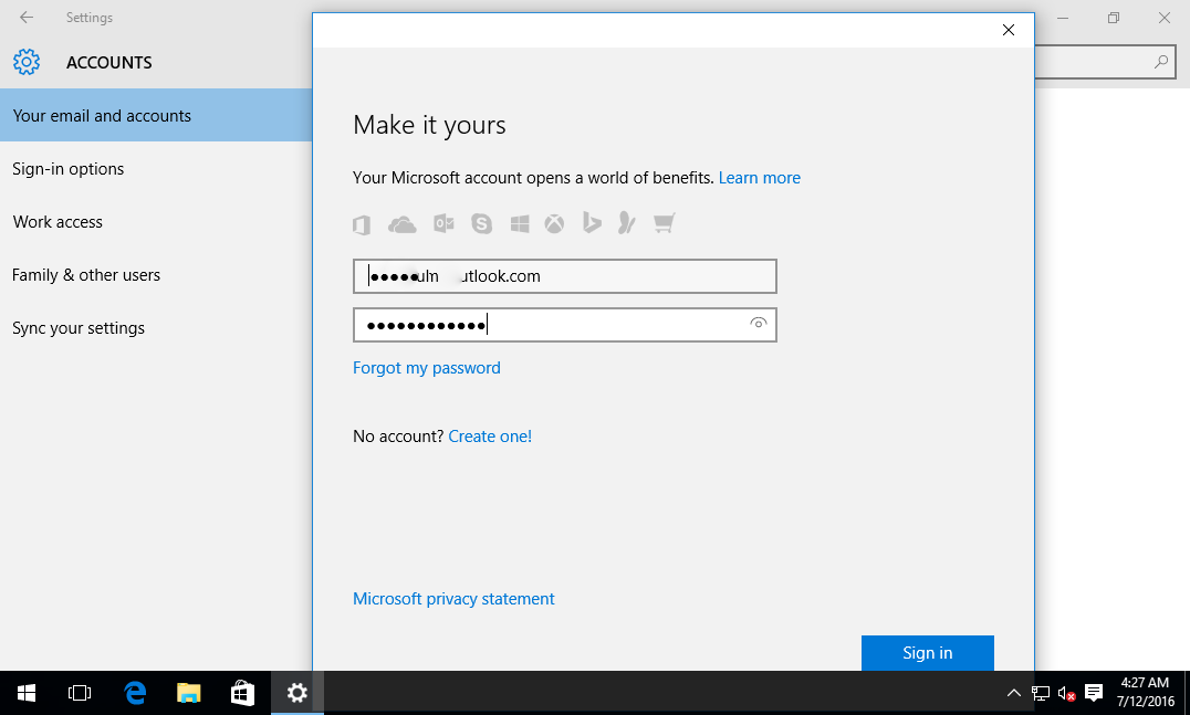 linking with microsoft account