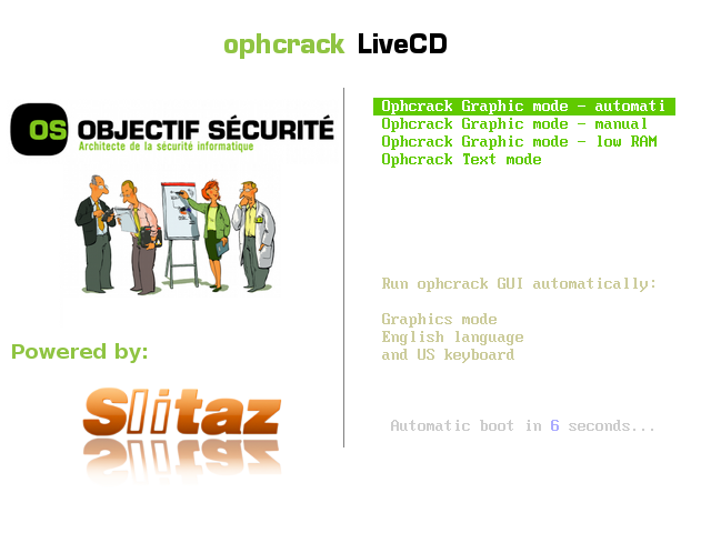 boot screen ophcrack live cd