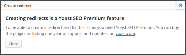 yoast redirect premium feature