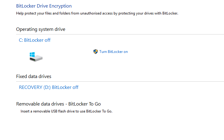 bitlocker enable