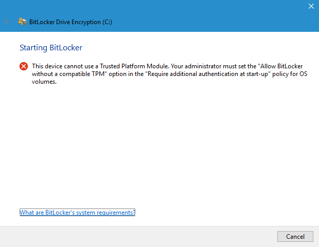 bitlocker without TPM