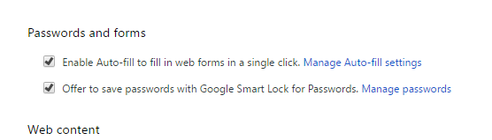 settings for login and passwords