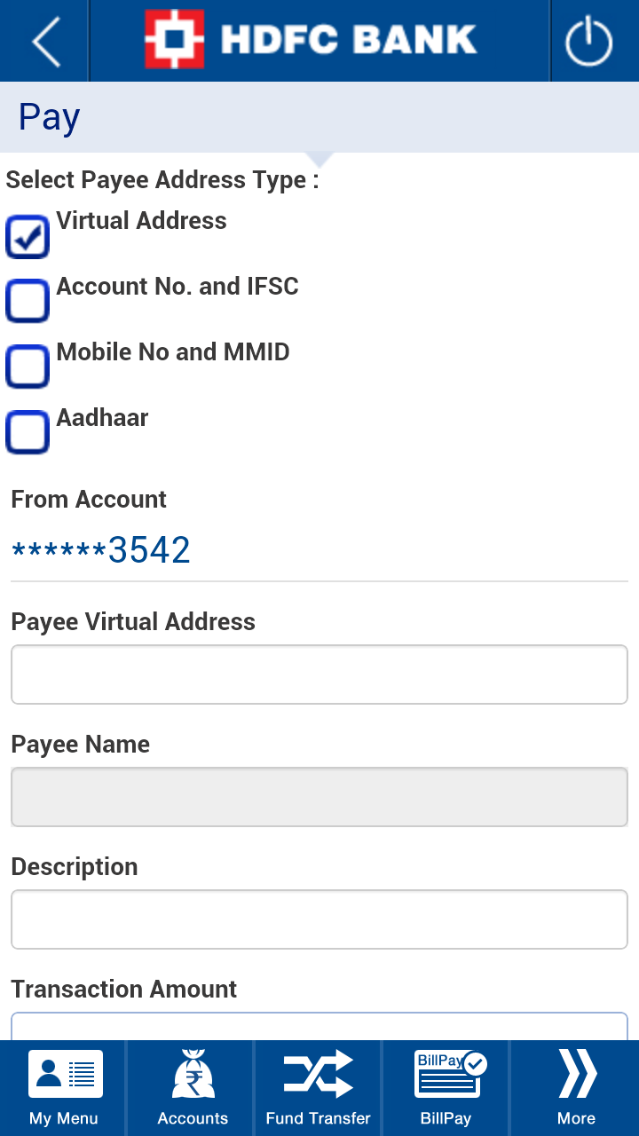 four payee options of HDFC app