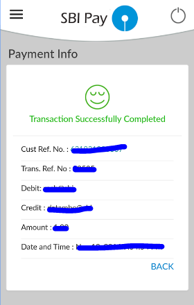 SBI Pay transaction confirmation