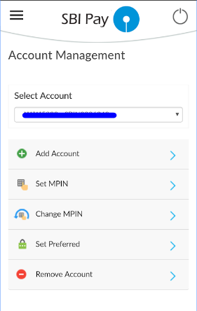 account management SBI Pay app