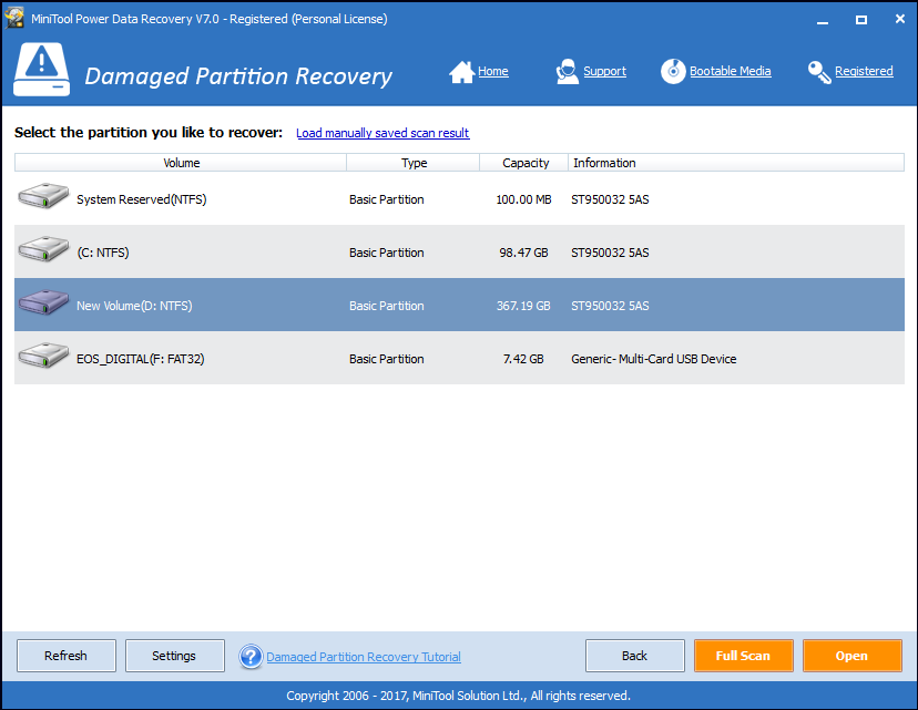 Damaged Partition Recovery option