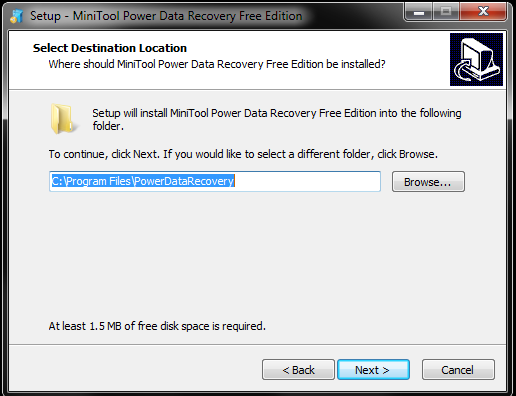 file path for installation of Power data recovery software