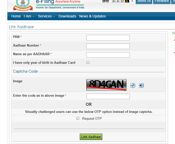 Link Aadhaar with PAN : The fast way without login