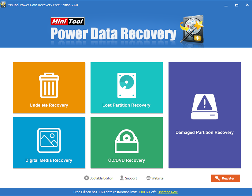 opening screen of power data recovery software