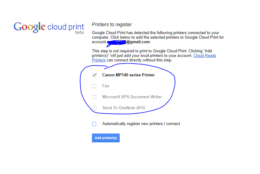 add printer to google cloud print