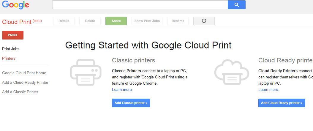 Google Cloud Print Options