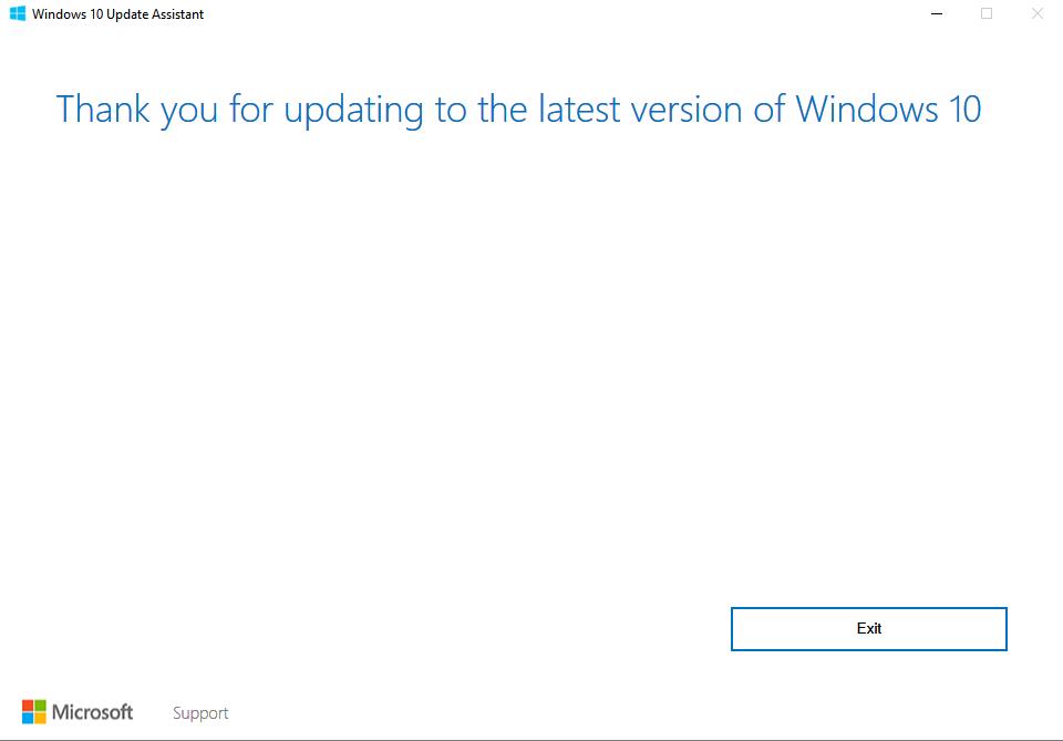 windows 10 successful update