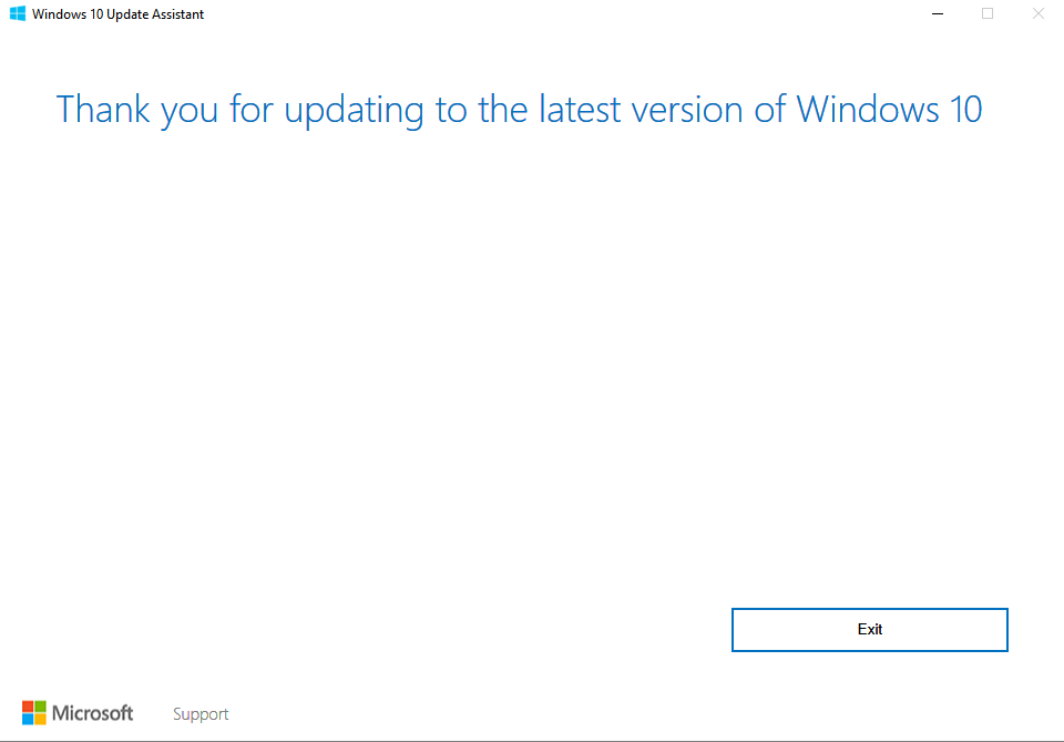 windows 10 successful update